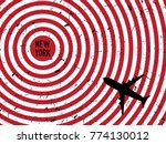 airplane flying to new york on... | Shutterstock .eps vector #774130012