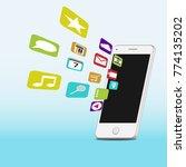 touchscreen smartphone with... | Shutterstock .eps vector #774135202