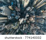 Top view of skyscrapers in a...