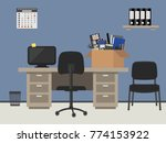 workplace of an office worker... | Shutterstock .eps vector #774153922
