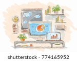 drawn image of work table with... | Shutterstock . vector #774165952