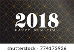 2018 happy new year with black...