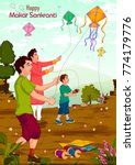 family flying kite for happy... | Shutterstock .eps vector #774179776