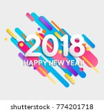 happy new year 2018 numbers... | Shutterstock .eps vector #774201718
