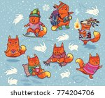 baby fox characters isolated on
