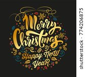 merry christmas gold typography ... | Shutterstock .eps vector #774206875