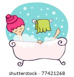 young woman relaxing in the... | Shutterstock .eps vector #77421268
