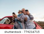 elderly couple with hat  with... | Shutterstock . vector #774216715