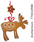 christmas cookies. moose with... | Shutterstock .eps vector #774216988