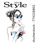 fashion woman with juice drink. ... | Shutterstock .eps vector #774228802