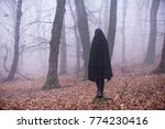 Girl In Black Hood Standing On...