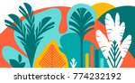 trees are broad leaved tropical ... | Shutterstock .eps vector #774232192