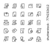 line icon set of document.... | Shutterstock . vector #774232612