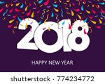 happy new year 2018 greeting... | Shutterstock .eps vector #774234772
