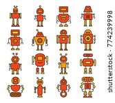 robot cartoon character icons... | Shutterstock .eps vector #774239998