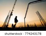 construction worker concrete... | Shutterstock . vector #774243178