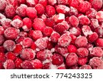 frozen red cranberries... | Shutterstock . vector #774243325