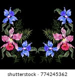 embroidery exotic neckline... | Shutterstock .eps vector #774245362