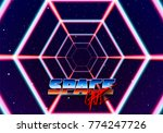 neon tunnel in space with 80s... | Shutterstock .eps vector #774247726