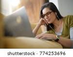 trendy woman relaxing at home...   Shutterstock . vector #774253696