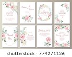 Stock vector set of card with flower rose leaves wedding ornament concept floral poster invite vector 774271126