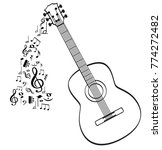 guitar with music symbols  | Shutterstock .eps vector #774272482