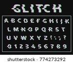 vector distorted glitch font.... | Shutterstock .eps vector #774273292
