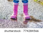 little girl with pink wellys in ... | Shutterstock . vector #774284566
