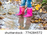 little girl with pink wellys in ... | Shutterstock . vector #774284572
