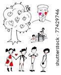 hand drawn love stories | Shutterstock .eps vector #77429746
