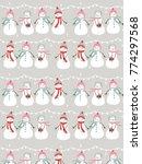 cute snowmen seamless pattern... | Shutterstock .eps vector #774297568