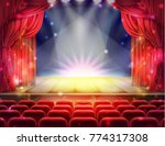 open red curtain and empty... | Shutterstock .eps vector #774317308