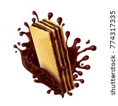 waffle cookies with chocolate... | Shutterstock .eps vector #774317335