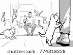 men with many cats in the room  ... | Shutterstock .eps vector #774318328