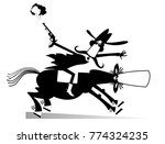 man or cowboy rides on horse... | Shutterstock . vector #774324235