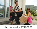 College students moving in to the university campus - stock photo