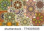 vector patchwork quilt pattern. ... | Shutterstock .eps vector #774335035