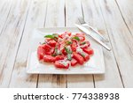 fresh watermelon salad with... | Shutterstock . vector #774338938