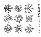 hand drawn snowflakes. ethnic...   Shutterstock .eps vector #774340222