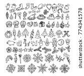 big bundle of winter doodles ... | Shutterstock .eps vector #774341578