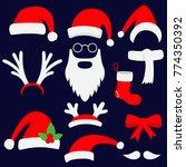 three red santa hats  horns ...   Shutterstock .eps vector #774350392