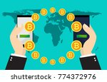 bitcoin exchange and transfer.... | Shutterstock .eps vector #774372976