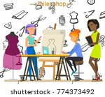 sewing workshop.the characters... | Shutterstock .eps vector #774373492