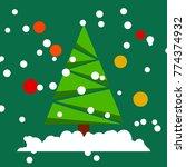 vector christmas tree in flat... | Shutterstock .eps vector #774374932
