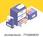 office paper document and file... | Shutterstock .eps vector #774384835