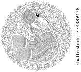 zentangle hand drawn stork for... | Shutterstock . vector #774389128