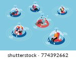 people on board autonomous...   Shutterstock .eps vector #774392662
