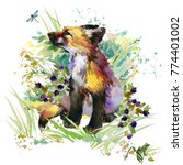 fox. forest animals watercolor... | Shutterstock . vector #774401002