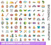 100 summer camp icons set.... | Shutterstock .eps vector #774405148