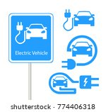 electric car in refill icon... | Shutterstock .eps vector #774406318